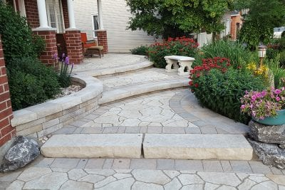 Interlock stair landing and front yard porch patio