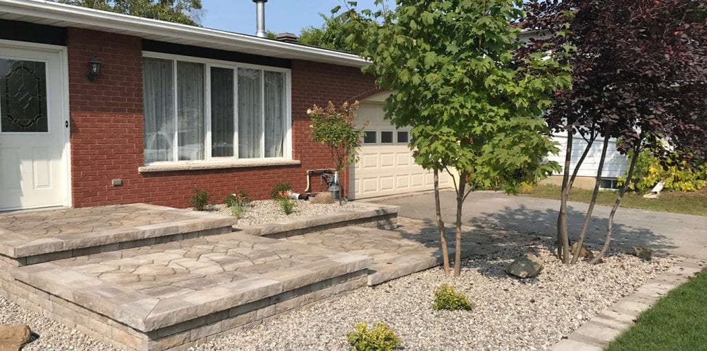 Staggered platform walkway leading to house